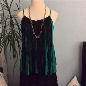 Green black fringe top